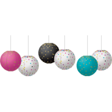 "Gold Foil & Confetti 8"" Hanging Paper Lanterns"