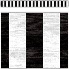 Modern Farmhouse Black Stripes Straight Border Trim