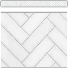 Modern Farmhouse White Herringbone Straight Border Trim