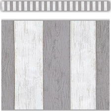 Modern Farmhouse Gray Stripes Straight Border Trim