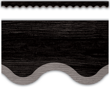 Modern Farmhouse Black with Gray Scalloped Border Trim