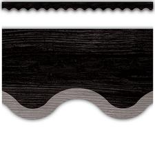 Modern Farmhouse Black with Gray Scalloped Border Trim