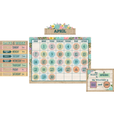 Rustic Bloom Calendar Bulletin Board Display Set