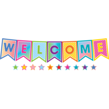 Colorful Vibes Pennants Welcome Bulletin Board Display