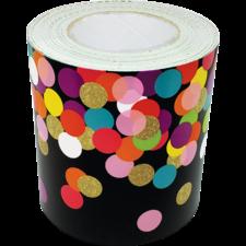 Colorful Confetti on Black Straight Rolled Border Trim
