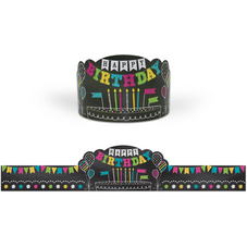 Chalkboard Brights Happy Birthday Crowns