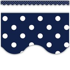 Navy Polka Dots Scalloped Border Trim