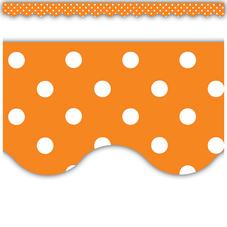 Orange Polka Dots Scalloped Border Trim