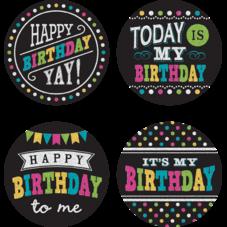 Chalkboard Brights Happy Birthday Wear 'Em Badges