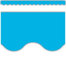 Aqua Solid Scalloped Border Trim
