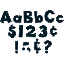 "Black Stitch 4"" Fun Font Letters"