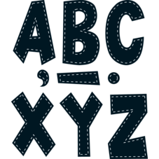 "Black Stitch 7"" Fun Font Letters"