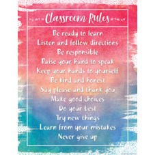 Watercolor Classroom Rules Chart