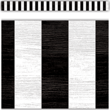 Modern Farmhouse Black Stripes Straight Border Trim