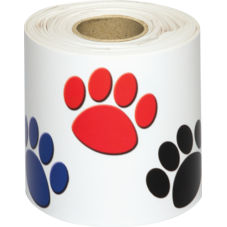 Colorful Paw Prints Straight Rolled Border Trim