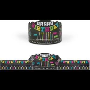 TCR1211 Chalkboard Brights Happy Birthday Crowns Image