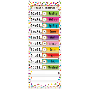 TCR20330 Confetti 14 Pocket Daily Schedule Pocket Chart Image