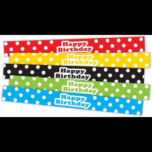 TCR20665 Polka Dots Happy Birthday Slap Bracelets Image