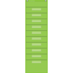 TCR20737 Lime Polka Dots 10 Pocket File Storage Pocket Chart Image