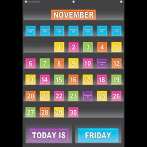 TCR20748 Black Calendar Pocket Chart Image