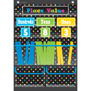 TCR20804 Chalkboard Brights Place Value Pocket Chart Image
