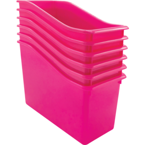 TCR2088559 Pink Plastic Book Bin 6 Pack Image