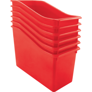 TCR2088560 Red Plastic Book Bin 6 Pack Image