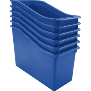 TCR2088561 Blue Plastic Book Bin 6 Pack Image
