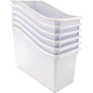 TCR2088564 White Plastic Book Bin 6 Pack Image
