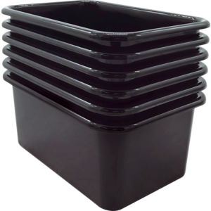 TCR2088569 Black Small Plastic Storage Bin 6 Pack Image