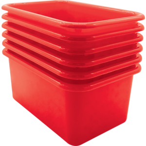 TCR2088577 Red Small Plastic Storage Bin 6 Pack Image