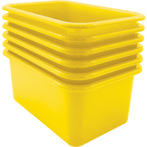 TCR2088578 Yellow Small Plastic Storage Bin 6 Pack Image