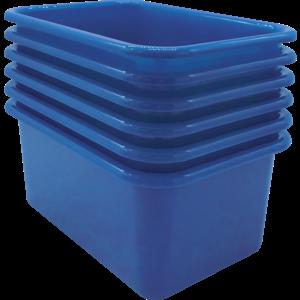 TCR2088579 Blue Small Plastic Storage Bin 6 Pack Image