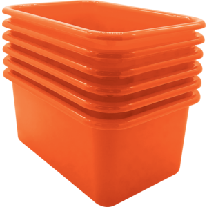 TCR2088580 Orange Small Plastic Storage Bin 6 Pack Image