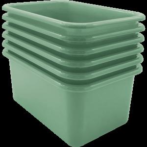 TCR2088582 Eucalyptus Green Small Plastic Storage Bin 6 Pack Image