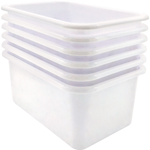 TCR2088585 White Small Plastic Storage Bin 6 Pack Image