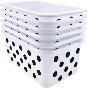 TCR2088587 Black Polka dots on White Small Plastic Storage Bin 6 Pack Image