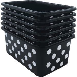 TCR2088588 White Polka Dots on Black Small Plastic Storage Bin 6 pack Image