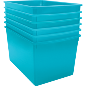 TCR2088610 Teal Plastic Multi-Purpose Bin 6 Pack Image
