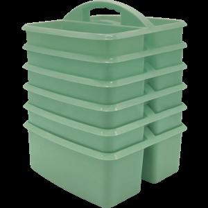 TCR2088624 Eucalyptus Green Plastic Storage Caddy 6 Pack Image