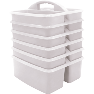 TCR2088627 White Plastic Storage Caddy 6 Pack Image