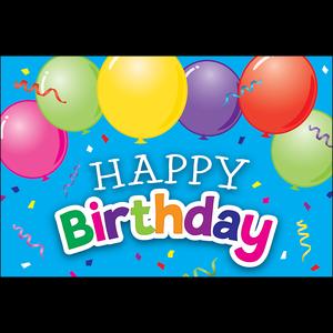 TCR2141 Happy Birthday Balloons Postcards Image