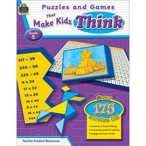 TCR2565 Puzzles and Games that Make Kids Think Grade 5 Image