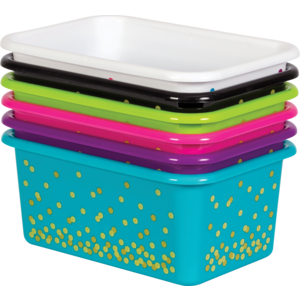 TCR32217 Assorted Confetti Small Plastic Storage Bins Set 6-Pack Image