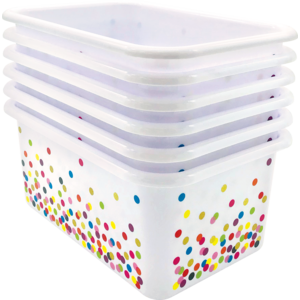 TCR32235 Confetti Small Plastic Storage Bins 6-Pack Image