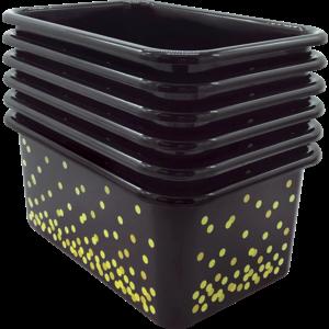 TCR32236 Black Confetti Small Plastic Storage Bins 6-Pack Image