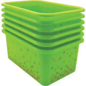 TCR32237 Lime Confetti Small Plastic Storage Bins 6-Pack Image