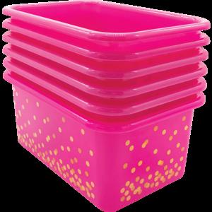 TCR32238 Pink Confetti Small Plastic Storage Bins 6-Pack Image