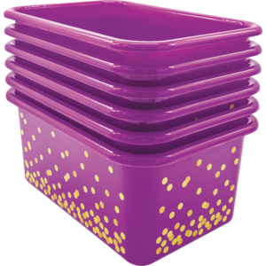 TCR32239 Purple Confetti Small Plastic Storage Bins 6-Pack Image