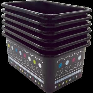 TCR32241 Chalkboard Brights Small Plastic Storage Bins 6-Pack Image